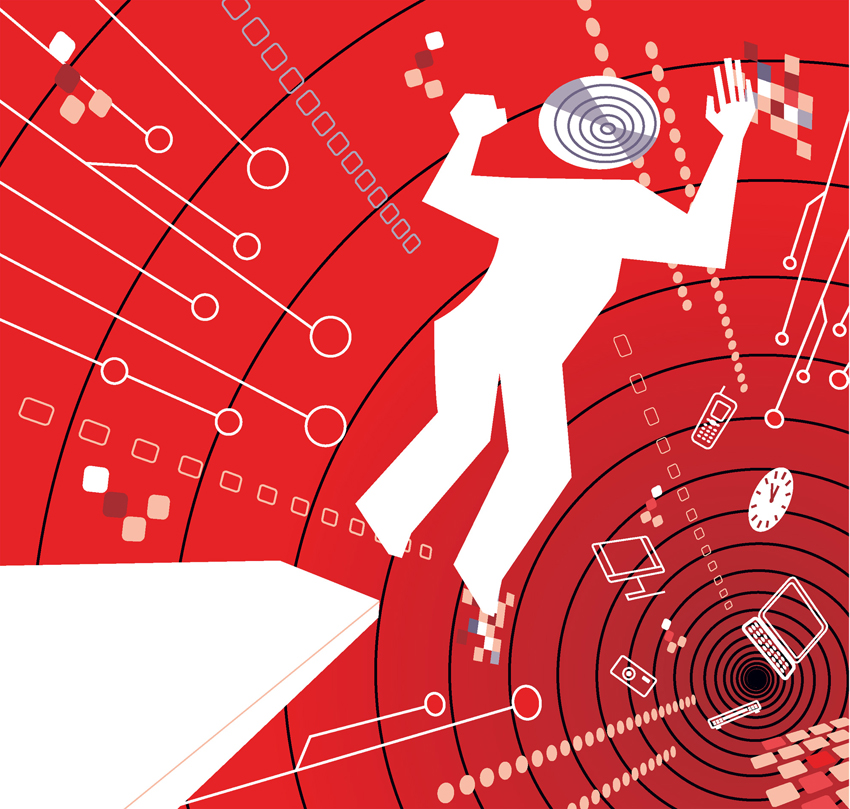 llustration man leaping to the unknown digital laptop phone