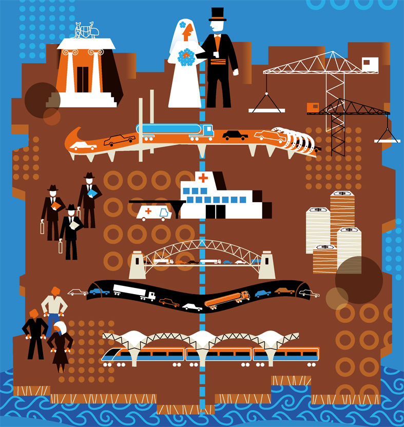 illustration of government and business partnerships