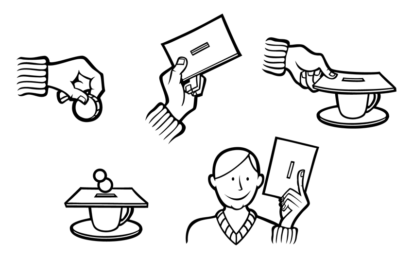 Black and white vector icons for postal donations