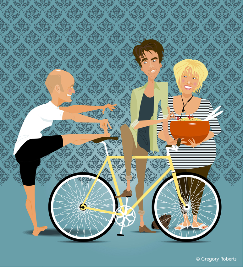 caricature illustrations of family