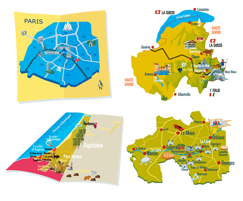 Vector illustration maps of France, Paris regions