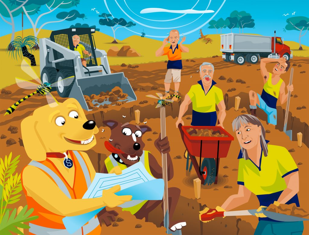 Vector caricature illustrations for calendar tradies tradesmen dogs