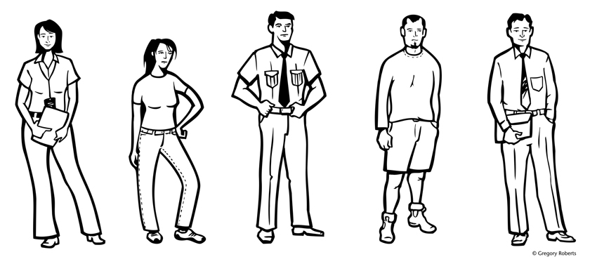 Black and white line illustration of prison people staff inmates