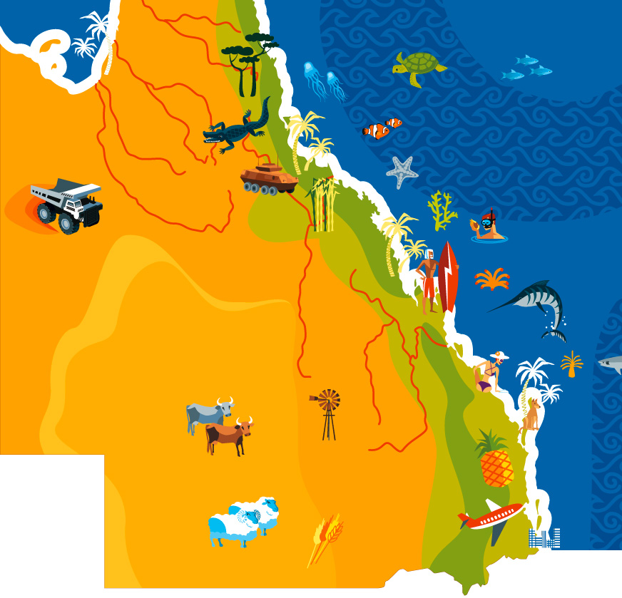 Vector Queensland Map illustration