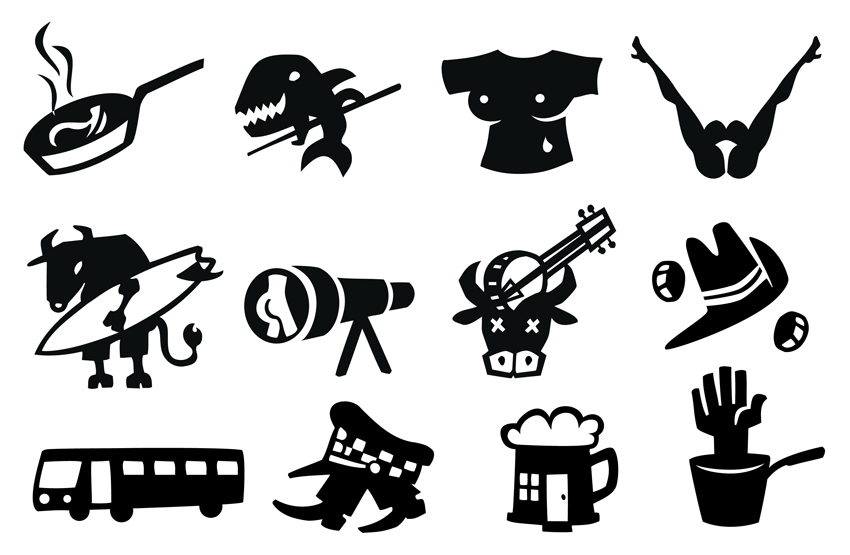 Black and white icons frying pan, pool shark, wet t-shirt, telescope, bull and banjo, two up game, bus, coppers, beer house pub, pot hand
