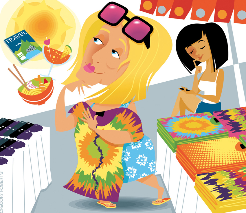Vector illustration for JetStar Magazine – Travel Tales, shopping on holiday, things look good on holiday, market, food, noodles, cocktail, loud shirt