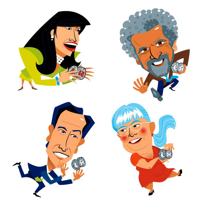 Caricature of science and business people