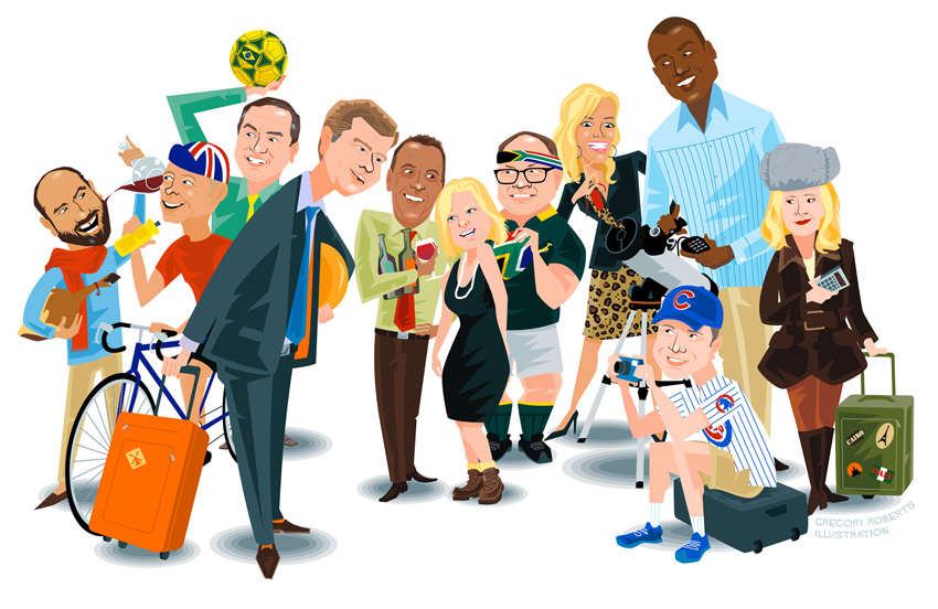 caricature illustrations of Business executives