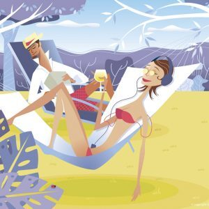 Vector illustration relaxing on holidays